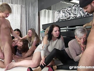 Nasty making out on rub-down the floor all round a lot of mature ladis added to two guys